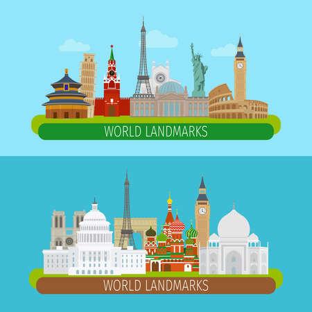 Illustration pour World landmarks banners or travel postcards vector illustration - image libre de droit