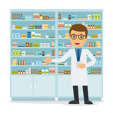 Illustration for Male pharmacist in a pharmacy opposite the shelves with medicines. Health care. Vector illustration - Royalty Free Image