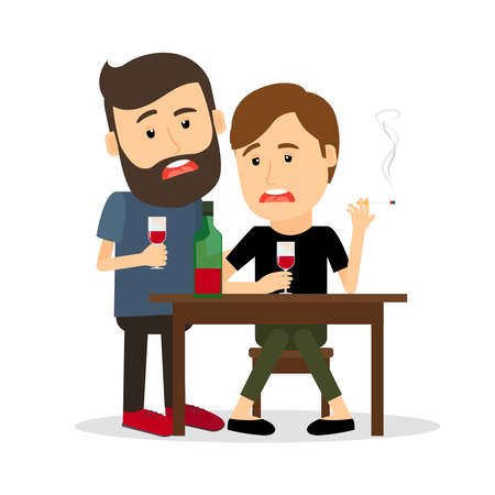 Illustration pour Two drunk men at the table with bottle, drinking and smoking. Vector illustration - image libre de droit