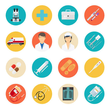 Illustration pour Medical flat icons. Medical tools and health care equipment signs, medical science research vector icons - image libre de droit