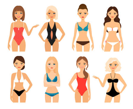Photo pour Women in swimsuit. Beautiful girls in bathing suits of different types. Vector illustration - image libre de droit