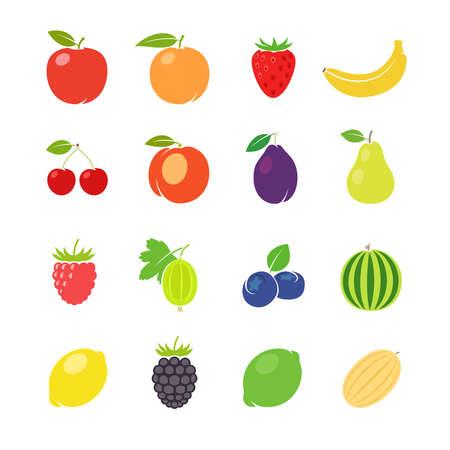 Illustration pour Fruits retro illustration. Different fruits in vintage style. Vector illustration - image libre de droit