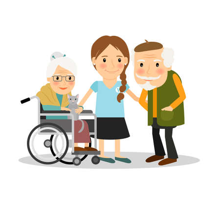 Illustration pour Caring for elderly patients. Young woman assisting elderly people. Vector illustration - image libre de droit