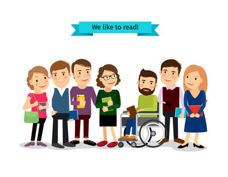 Illustration pour Reading books club. Vector people readers with disabled isolated on white background - image libre de droit