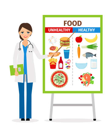 Illustration pour Nutritionist or dietician counselor doctor with diet and unhealthy food poster vector illustration - image libre de droit