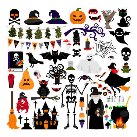 Illustration pour Halloween fashion flat icons isolated on white background. Halloween vector characters. Pumpkin and black cat, ghost and witch - image libre de droit