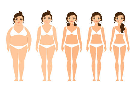 Illustration for Cartoon woman before and after diet vector illustration - Royalty Free Image