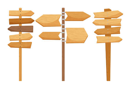 Illustration pour Wooden way direction signs on white background. Vector illustration - image libre de droit