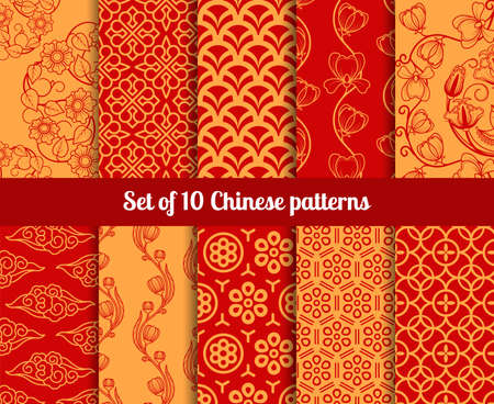 Illustration pour Chinese vector seamless patterns. Endless textures for wallpapers - image libre de droit