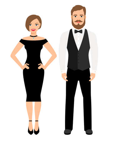 Illustration pour Beautiful couple in official style evening outfit. Lady in black dress and man in vest and bow on white background. Vector illustration - image libre de droit