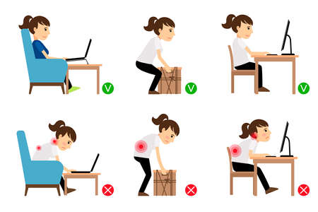 Illustration pour Woman cartoon character sitting and working correct and incorrect postures. Vector illustration - image libre de droit