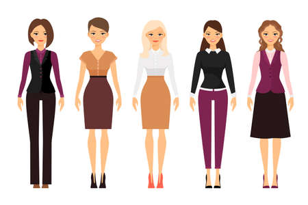 Illustration for Women in office dress code in violet and beige colors on white background. Vector illustration - Royalty Free Image