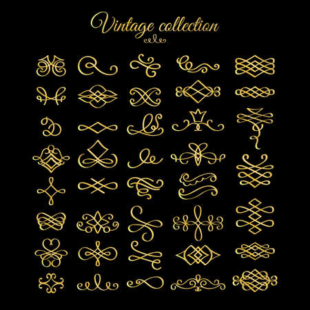Illustration for Vector golden calligraphic flourishes design elements for postcard, menu and wedding invitation - Royalty Free Image