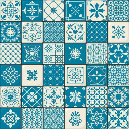 Illustration for Ceramic tile set. Vintage oriental moroccan style tiles patterns or spanish flowers decorative motifs. Vector illustration - Royalty Free Image