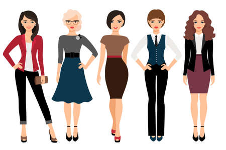 Illustration pour Cute young women in different style clothes vector illustration. Businesswoman and office girl character isolated on white background - image libre de droit