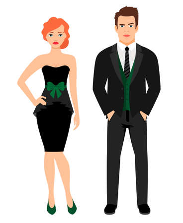 Illustration for Young couple in black fashion outfit. Woman in little black dress and man in vest and jacket, vector illustration - Royalty Free Image