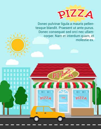 Illustration pour Pizza advertising banner with shop building and landscape, vector illustration - image libre de droit