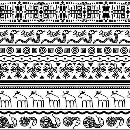 Illustration pour Tribal mexican seamless pattern. Vector floral and animals textile mexico or african fashion print texture background. Vector illustration - image libre de droit