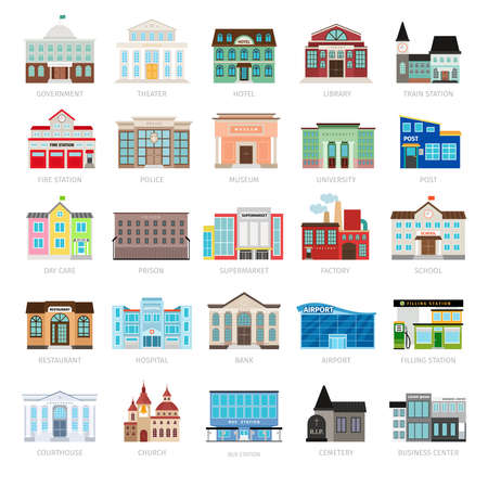 Illustration pour Municipal library and city bank, hospital and school vector icon set. Colored urban government building icons - image libre de droit