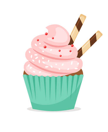 Illustration pour Chocolate muffin with pink frosting and thin wafer tubes. Sweet cupcake vector icon on white background - image libre de droit