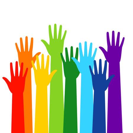 Illustration pour Colored volunteer crowd hands - image libre de droit