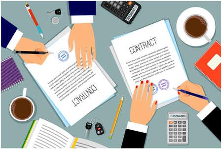 Illustration pour Businessman hands signing documents - image libre de droit