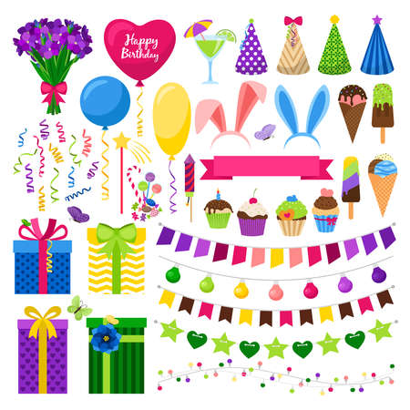 Illustration for Party colorful icons set - Royalty Free Image