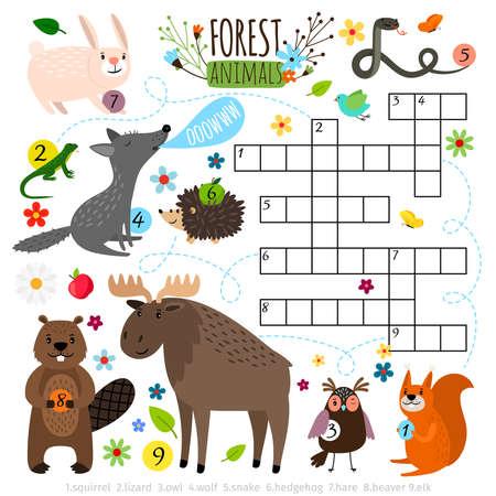 Foto de Forest animals crossword puzzle - Imagen libre de derechos
