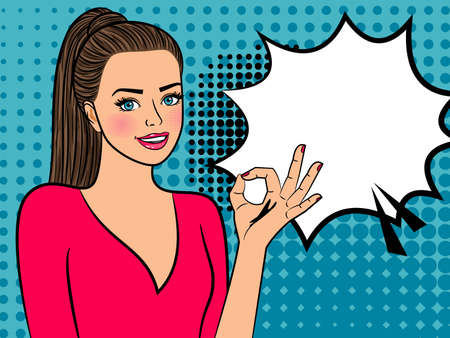 Illustration for Retro girl with ok sign - Royalty Free Image