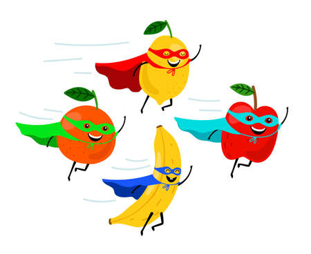 Illustration for Super fruits. Smiling fruit superheroes vector illustration, colorful funny vegetarian food super heroes, cartoon fruity characters - Royalty Free Image
