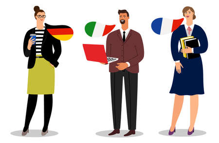Illustration pour International business team vector isolated on white background. Illustration of business people team, businessman communication italian and french and german - image libre de droit