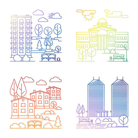 Illustration for Set of line village and city landscape vector banners - Royalty Free Image