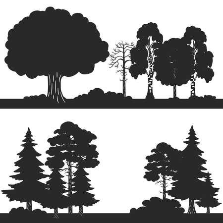Illustration pour Black vector forest trees silhouettes background. Forest silhouette illustration, wood oak and evergreen - image libre de droit