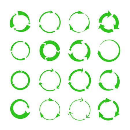Illustration pour Recycling arrows. Green circles arrow biodegrade symbols, vector recycle materials cycle icons isolated on white background - image libre de droit
