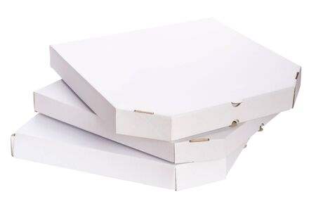 Foto für Close Up Stack Of Empty Carton Boxes For Pizza Isolated On White Background - Lizenzfreies Bild