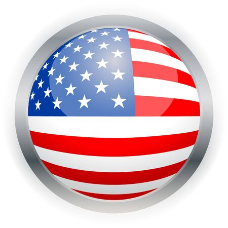 North American USA flag button, Isolated illustration.