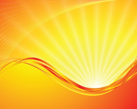 sun on yellow background with orange rays