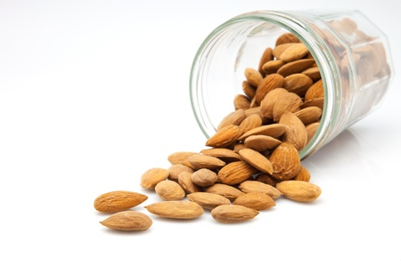 crystal pot of bare almonds