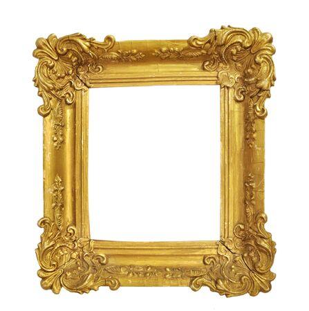 Photo pour Isolated Photo Frame, Little Golden Antique Photo Frame, Vintage Frame. - image libre de droit