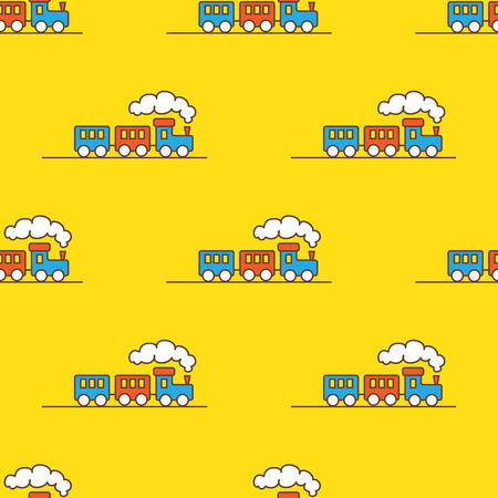 Illustration pour Vector funny cartoon toy train seamless pattern. Little steam train background. - image libre de droit