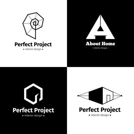 Illustration pour Vector set of four minimalistic interior design studio logos. Black and white creative logotypes - image libre de droit