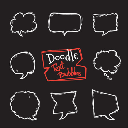 Vector doodle style text bubbles set. Cute hand drawn collection of chating clouds