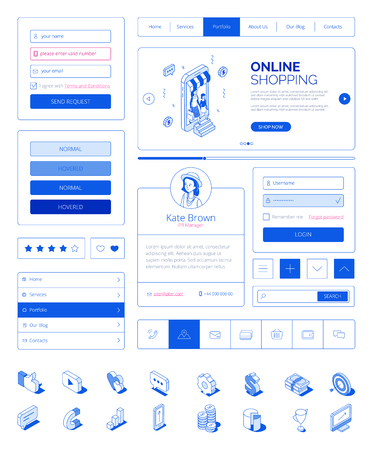Illustration pour Ready to use user interface,UI layout kit with modern isometric people characters.Responsive website,landing page,mobile web online shopping concept.Isometrics icons,site buttons,fields,elements - image libre de droit