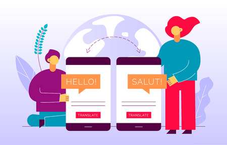 Illustration pour Vector flat translation design concept of  big modern people, holding smartphone with word Hello in French. Trendy language courses, translation agency illustration with earth globe and leaves. - image libre de droit