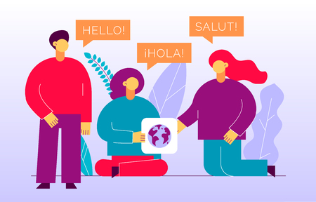 Illustration pour Vector flat translation design concept of  big modern people with word Hello in English, Spanish and French. Trendy language courses, translation agency illustration with earth globe and leaves. - image libre de droit