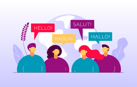 Illustration pour Vector flat translation concept of  big modern people,speaking different languages.Trendy language courses, translation agency illustration with earth globe, word hello in Spanish,French,German. - image libre de droit