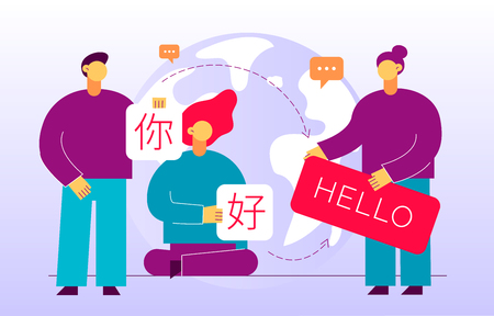 Illustration pour Vector flat translation design concept of  big modern people, holding cards with word Hello in chinese and english. Trendy language courses, translation agency illustration with earth globe. - image libre de droit