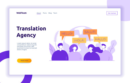 Illustration pour Vector flat line translation concept of big modern people,speaking different languages.Trendy language courses, translation agency illustration with earth globe, word hello in Spanish,French,German. - image libre de droit