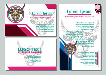 Illustration pour design creative display layouts or cards with buffalo models as basic images - image libre de droit