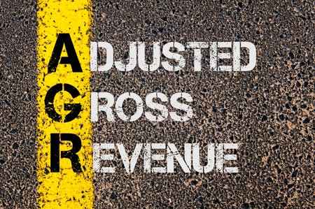 Concept image of Business Acronym AGR as Adjusted Gross Revenue  written over road marking yellow paint line.